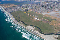 Aerial view of the Tijuana River National Estuarine Reserve looking north/north-east.