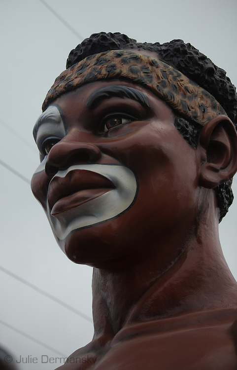 Sculpted head on the Zulu King float. Mardi Gras 2011 in New Orleans is expected to be have the largest attendance of all time due to the dates overlapping with college spring break. Mardi Gras also known as Carnival begins on or after Epiphany and ending on the day before Ash Wednesday.