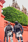 Heavily armed Mexican National Guard soldiers stand guard by the Parroquia de San Miguel Arcangel church during increased security as the city celebrates the 251st birthday of the Mexican Independence hero Ignacio Allende January 21, 2020 in San Miguel de Allende, Guanajuato, Mexico.