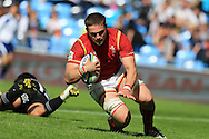 Harrison Keddie of Wales scores a try late in the 2nd half. World Rugby U20 Championship 2016, 5th Place Semi Final, Match 22 ,New Zealand U20's  v Wales U20's at the Manchester city Academy Stadium in Manchester, Lancs on Monday 20th June 2016, pic by Andrew Orchard, Andrew Orchard sports photography.