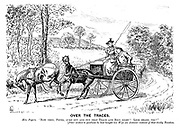 "Over the Traces. Mrs. Pogers. ""Now then, Peter, jump out and put that trace and rein right! Look sharp, too!"" [Peter wishes to goodness he had bought his wife an autocar instead of that tricky tandem."