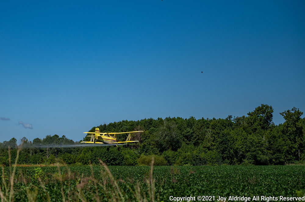 Crop duster spraying fields in rural South Carolina in a bi-plane. Image taken by Joy Aldridge with a NIKON Z 6_2 and NIKKOR Z 24-70mm f/2.8 S at 70mm, ISO 100, f2.8, 1/6400.