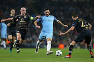Ilkay Gundogan of Manchester City tussles with Scott Brown of Celtic during the Champions League Group C match at the Etihad Stadium, Manchester. Picture date: December 6th, 2016. Pic Simon Bellis/Sportimage