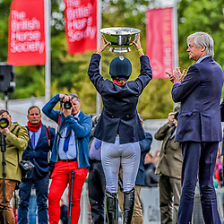Piggy French lifting the cup at the Badminton horse trials of 2019 Badminton Gloucester England UK Badminton Horse trials 2019 Winner Piggy French wins the title