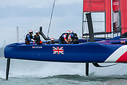 SailGP Team GBR  practising on the Solent. Event 4 Season 1 SailGP event in Cowes, Isle of Wight, England, United Kingdom. 6 August 2019: Photo Chris Cameron for SailGP. Handout image supplied by SailGP