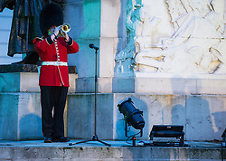 © London News Pictures. 25/04/2016. London, UK. A trumpet being played as Prince Harry attended a poignant ANZAC Day service at Hyde Park Corner at day break..The service began with the primitive sounds putatara conch shell trumpet playing a lament from the top of Royal Artillery Memorial. Photo credit: Sergeant Rupert Frere/LNP