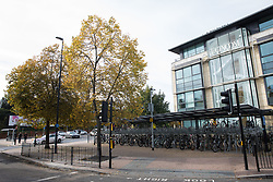 Maidenhead, UK. 11th October, 2021. A secure cycle storage area is pictured outside Maidenhead station on the occasion of the official opening of the station forecourt by Theresa May MP. The £3.75m refurbishment is intended to make the area around the station more commuter-friendly in anticipation of an increase in passengers when Crossrail opens and to improve both the interchange between trains and other forms of transport and walking and cycling links between the station and the town centre.