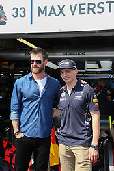 Chris Hemsworth visits the Red Bull stand along the pit lane at the 75th Monaco Gran Prix, Monaco on May 28th, 2017. Photo by Marco Piovanotto/ABACAPRESS.COM