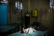 A baby is seen in a hospital in West Mosul.