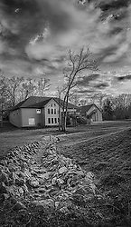 A Dark and Moody Backyard in Nichole Park in Black and White