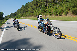Bill Buckingham (L) riding his 1936 Harley-Davidson Knucklehead model custom chopper (that won top honors at Born Free 6) with his riding partner Sean Duggan (R) on his 1936 Harley-Davidson Knucklehead Stage 3 of the Motorcycle Cannonball Cross-Country Endurance Run, which on this day ran from Columbus, GA to Chatanooga, TN., USA. Sunday, September 7, 2014.  Photography ©2014 Michael Lichter.