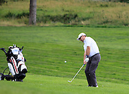 Mark McMurray (Knock) chips onto the 18th green during the Final of the AIG Senior Cup at the AIG Cups & Shields National Finals in Carton House, Maynooth, Co. Kildare on the 19/09/15.<br /> Picture: Thos Caffrey | Golffile