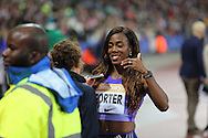 Tiffany Porter after the 100m Hurdles during the Sainsbury's Anniversary Games at the Queen Elizabeth II Olympic Park, London, United Kingdom on 24 July 2015. Photo by Phil Duncan.