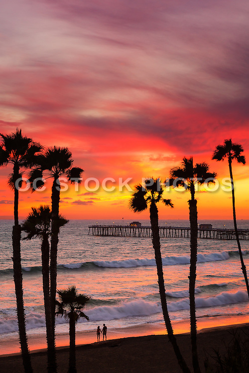 Couple Holding Hands on the Beach at Dusk in San Clemente