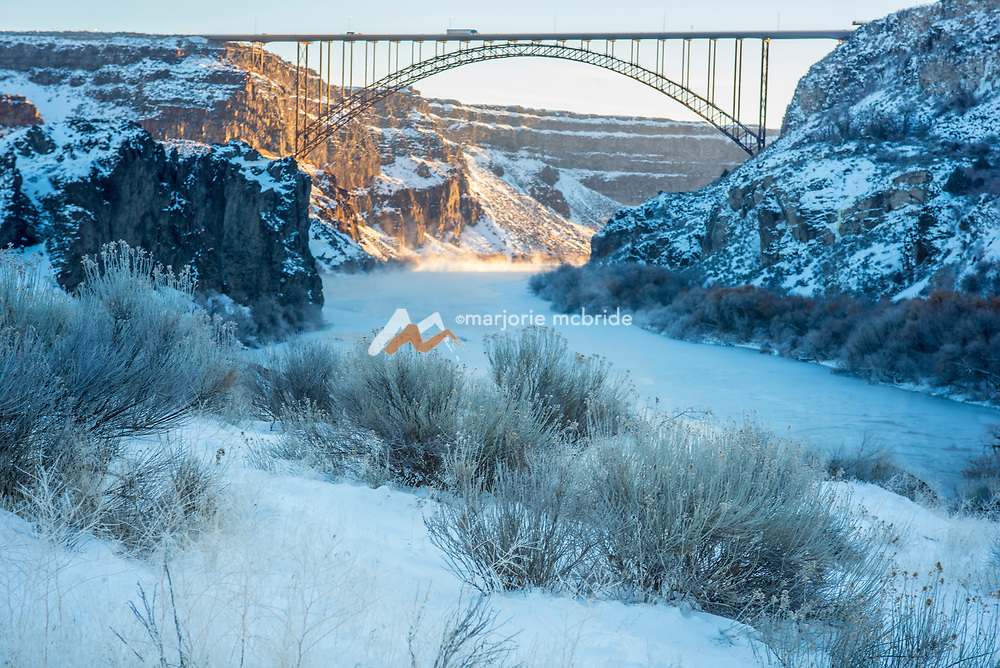 Landscape image from above of the Perrine Bridge and the Snake River Canyon  during winter Twin Falls, Idaho.