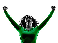 one mixed race young woman happiness arms raised silhouette isolated on white background