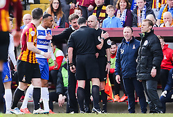 Bradford City Manager, Phil Parkinson argues with the officials - Photo mandatory by-line: Matt McNulty/JMP - Mobile: 07966 386802 - 07/03/2015 - SPORT - Football - Bradford - Valley Parade - Bradford City v Reading - FA Cup - Quarter Final
