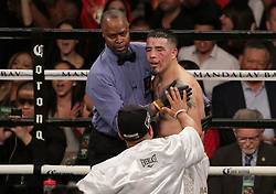 February 17, 2018 - Las Vegas, Nevada, United States of America - Welterweight boxer Danny ''Swift'' Garcia kayos boxer Brandon Rios  with one punch to win their WBC Welterweight elimination bout  on February 17, 2018 at Mandalay Bay Events  Center in Las  Vegas, Nevada. (Credit Image: © Marcel Thomas via ZUMA Wire)