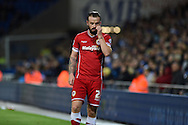 John Brayford of Cardiff city. Skybet football league championship match, Cardiff city v Ipswich Town at the Cardiff city stadium in Cardiff, South Wales on Tuesday 21st October 2014<br /> pic by Andrew Orchard, Andrew Orchard sports photography.