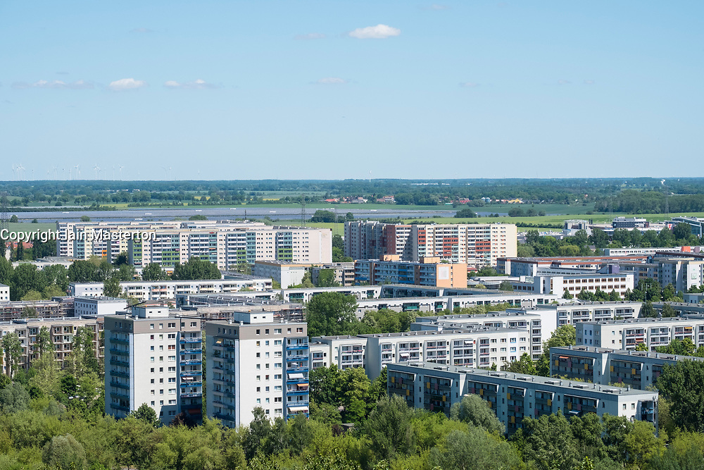 View of housing estate at Hellersdorf  from viewpoint at IFA 2017 International Garden Festival (International Garten Ausstellung) in Berlin, Germany