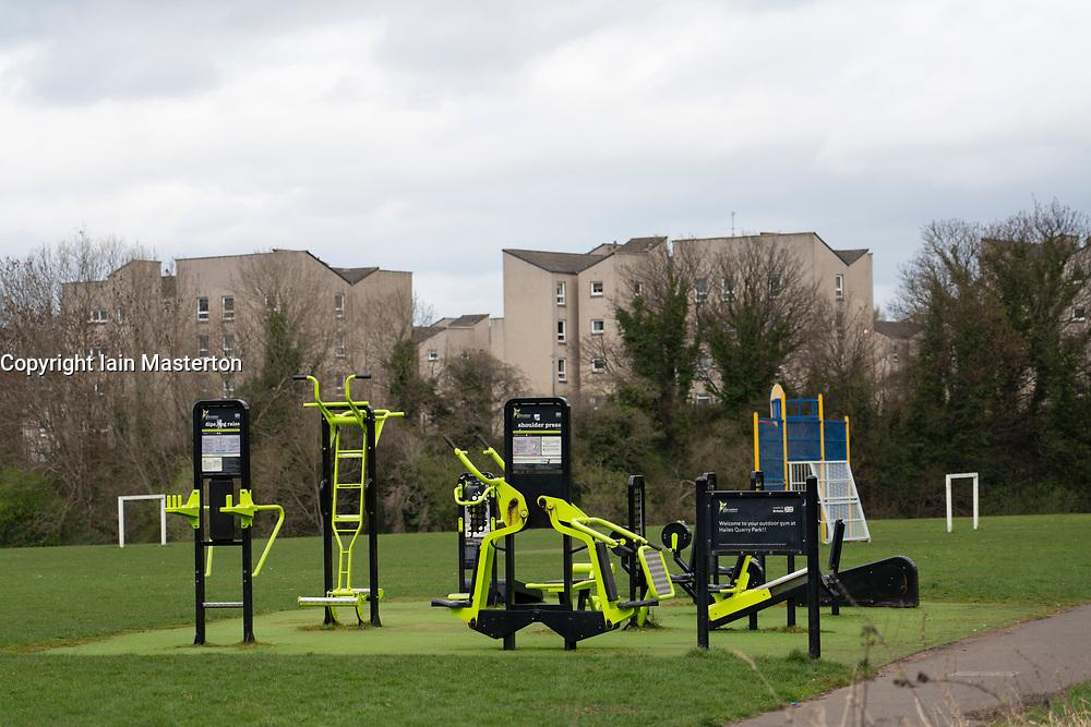 Outdoor gym at Hailes Quarry Park, Wester Hailes, Edinburgh, Scotland, UK