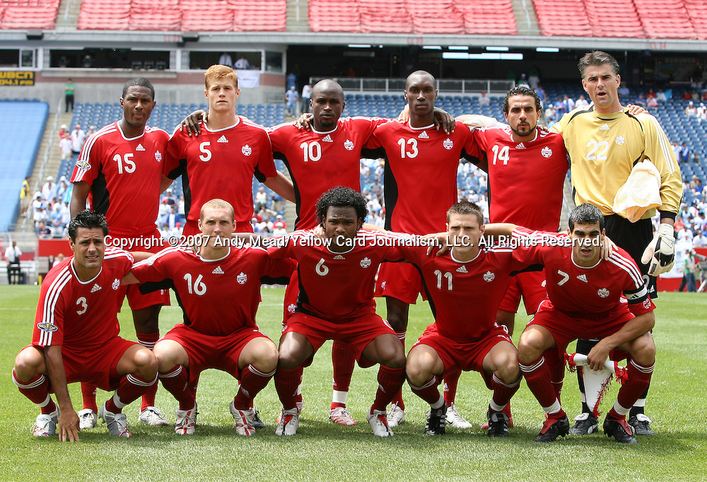 16 June 2007: Canada's starters pose for a team photo. Front row (l to r): Ante Jazic, Martin Nash, Julian DeGuzman, Richard Hastings, Paul Stalteri. Back row (l to r): Patrice Bernier, Andrew Hainault, Ali Gerba, Atiba Hutchinson, Dwayne DeRosario, Patrick Onstad. The Canada Men's National team defeated the Guatemala Men's National Team 3-0 at Gillette Stadium in Foxboro, Massachusetts in a 2007 CONCACAF Gold Cup quarterfinal.