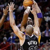 19 January 2012: Los Angeles Lakers shooting guard Kobe Bryant (24) takes a jump shot over Miami Heat small forward Shane Battier (31) during the Miami Heat 98-87 victory over the Los Angeles Lakers at the AmericanAirlines Arena, Miami, Florida, USA.