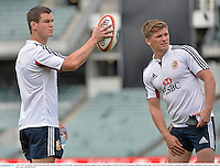 4 June 2013; Jonathan Sexton, left, and Owen Farrell, British & Irish Lions, during kickers practice ahead of their game against Western Force on Wednesday. British & Irish Lions Tour 2013, Kickers Practice, Patersons Stadium, Perth, Australia. Picture credit: Stephen McCarthy / SPORTSFILE
