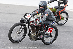 Jody Perewitz riding a 45 inch Harley-Davidson Flathead in the Sons of Speed Vintage Motorcycle Races at New Smyrina Speedway. New Smyrna Beach, USA. Saturday, March 9, 2019. Photography ©2019 Michael Lichter.