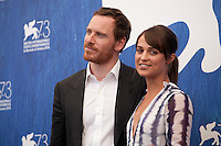 Michael Fassbender and Alicia Vikander at The Light Between Oceans film photocall at the 73rd Venice Film Festival, Sala Grande on Thursday September 1st 2016, Venice Lido, Italy.