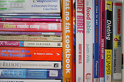 A collection of  various dieting books,