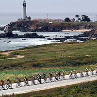 The Stage 2 Peloton passes the Pigeon Point Lighthouse on the San Mateo County coast on during the Tour of California.<br /> Photo by Shmuel Thaler <br /> shmuel_thaler@yahoo.com www.shmuelthaler.com
