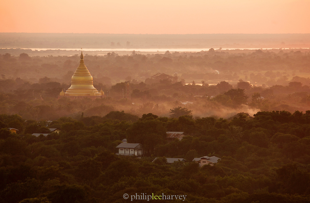 Pagodas fill the landscape in the hills of Sagaing, near Mandalay in Myanmar