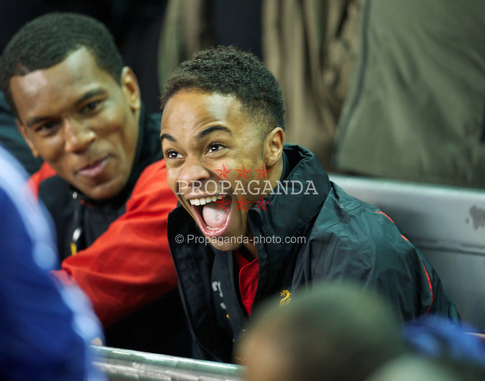 LIVERPOOL, ENGLAND - Monday, February 11, 2013: Liverpool's substitute Raheem Sterling on the bench during the Premiership match against West Bromwich Albion at Anfield. (Pic by David Rawcliffe/Propaganda)