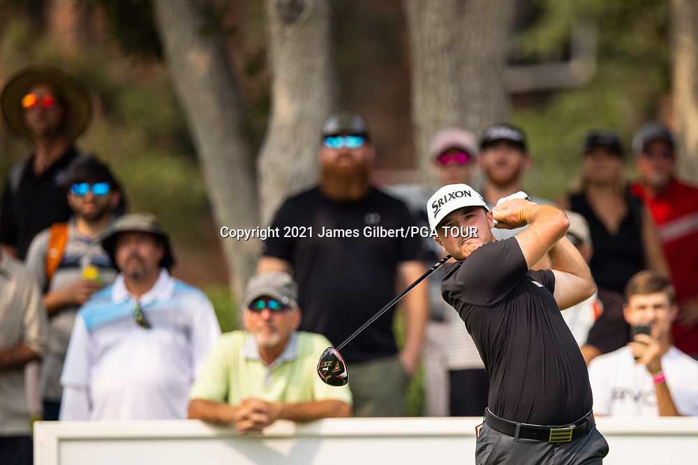 FARMINGTON, UT - AUGUST 08: Brent Grant plays his shot from the 18th tee during the final round of the Utah Championship presented by Zions Bank at Oakridge Country Club on August 8, 2021 in Farmington, Utah. (Photo by James Gilbert/PGA TOUR via Getty Images)