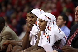 """12 January 2008: Osiris Eldridge (l) and Keith """"Boo"""" Richardson cool off on the bench during a game in which  the Purple Aces of the University of Evansville lost to  the Redbirds of Illinois State on Doug Collins Court at Redbird Arena in Normal Illinois by a score of 74-66."""