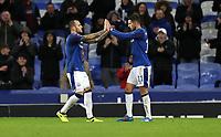 Football - 2017 / 2018 UEFA Europa League - Group E: Everton vs. Atalanta B.C.<br /> <br /> Sandro Ramirez of Everton celebrates scoring with Kevin Mirallas of Everton at Goodison Park.<br /> <br /> COLORSPORT/LYNNE CAMERON