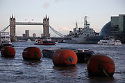 View of barges, floats and boats on the River Thames looking towards Tower Bridge on 15th January 2020 in London, England, United Kingdom.