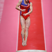 Un Jong Hong of People's Republic of Korea performs on the Vault at the 46th FIG Artistic Gymnastics World Championships in Glasgow, Britain, 31 October 2015.