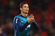 Cristiano Ronaldo of Portugal applauds fans - Argentina vs. Portugal - International Friendly - Old Trafford - Manchester - 18/11/2014 Pic Philip Oldham/Sportimage