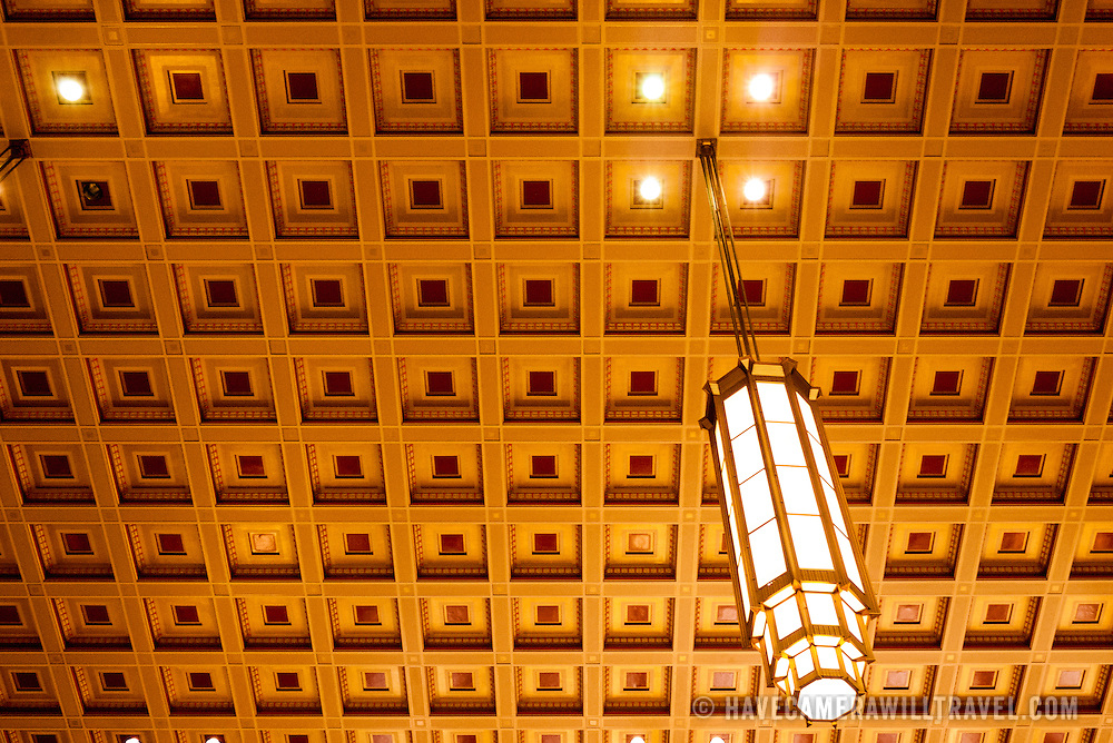 The ceiling of Philadelphia's 30th Street Station with suspended lighting