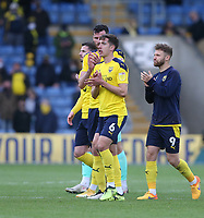 The Oxford United players applaud the fans at the end of the match<br /> <br /> Photographer Rob Newell/CameraSport<br /> <br /> Sky Bet League One Play-Off Semi-Final 1st Leg - Oxford United v Blackpool - Tuesday 18th May 2021 - Kassam Stadium - Oxford<br /> <br /> World Copyright © 2021 CameraSport. All rights reserved. 43 Linden Ave. Countesthorpe. Leicester. England. LE8 5PG - Tel: +44 (0) 116 277 4147 - admin@camerasport.com - www.camerasport.com