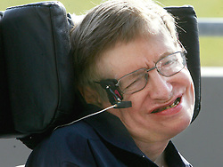Prof. Stephen Hawking is all smiles during a press conference after experiencing weightlessness in a Zero Gravity jet on Thursday, April 26, 2007, in Orlando, Florida. Photo by Red Huber/Orlando Sentinel/MCT/ABACAPRESS.COM    121179_02 Orlando