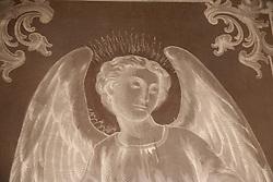North America, Mexico, Oaxaca Province, Oaxaca, angel in glass of church known as  Iglesia y Ex-convento de Santo Domingo