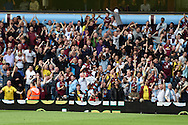 Scott Sinclair of Aston Villa (9) celebrates with the Villa fans after he scores his teams 2nd  goal . Barclays Premier League match, Aston Villa v Sunderland at Villa Park in Birmingham, Midlands on Saturday 29th August  2015.<br /> pic by Andrew Orchard, Andrew Orchard sports photography.