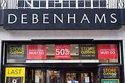 Sale signs outside the Folkestone Debenhams store in the final few days of the 'Everything Must Go' sale before closing down in Folkestone, Kent. United Kingdom. The company announced the closure of 19 stores across the UK after going into administration in 2019.  (photo by Andrew Aitchison / In pictures via Getty Images)