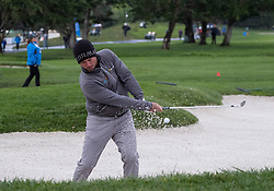 February 10, 2019 - Pebble Beach, CA, U.S. - PEBBLE BEACH, CA - FEBRUARY 10: Chez Reavie chips out of a sand trap on Hole 2 during the final round of play at the AT&T Pebble Beach Pro-Am on Sunday, February 10, 2019 in Pebble Beach, CA. (Photo by Douglas Stringer/Icon Sportswire) (Credit Image: © Douglas Stringer/Icon SMI via ZUMA Press)