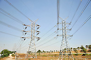 Israel, Hadera, The Orot Rabin coal operated power plant Powerlines connected to the national grid