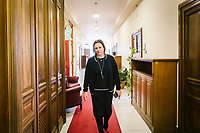 ROME, ITALY - 26 FEBRUARY 2020: Piera Aiello (52), member of the lower house of the Italian parliament and police informant known for her stand against the Mafia, steps out of an office in Rome, Italy, on February 26th 2020.<br /> <br /> Born in a small town in Sicily, she was forced to marry the son of a local Mafia boss at the age of 18, and soon watched her husband be killed in front of her eyes. She then became a key figure in the fight against the Mafia, spending nearly three decades in hiding under a witness protection program, and helping the police track down dozens of mafiosi. In 2018, without ever having shown her face on television or in the media for fear of mafia retribution, she was elected to parliament.<br /> <br /> In 2019 she was named as one of the BBC's 100 Women.