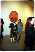 Alexia Somerville and Hannah Bhuiya, Product: Richard Hamilton private view, Gagosian Gallery. London. 13 January 2003.  © Copyright Photograph by Dafydd Jones 66 Stockwell Park Rd. London SW9 0DA Tel 020 7733 0108 www.dafjones.com